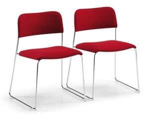 SIGMA 160, Gepolsterte stapelbarer Stuhl, auf Kufen, für Tagungsraum