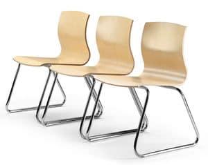 WEBWOOD 350, Stuhl mit Kufen, Sperrholzschale