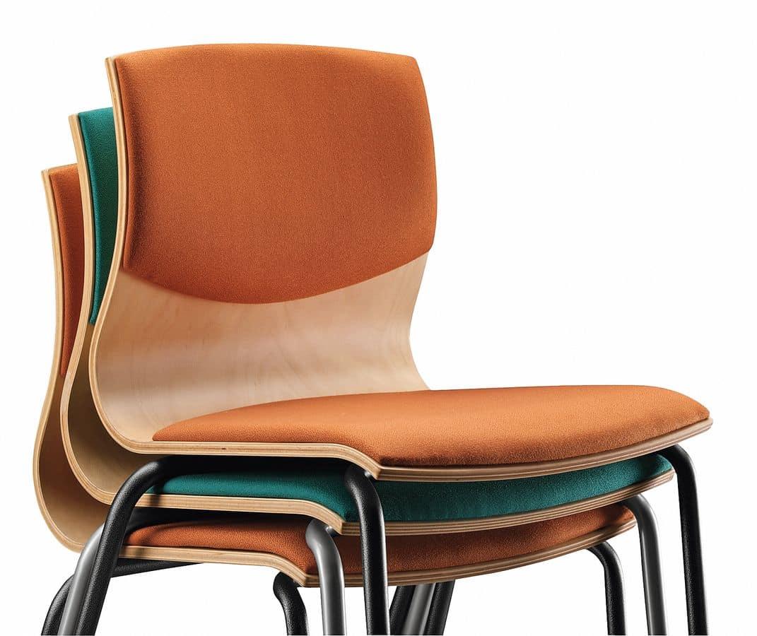 Stuhl mit metallrahmen gepolsterter holzschale idfdesign for Stuhl holzschale