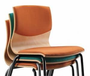WEBWOOD 353 S, Stuhl mit Metallrahmen, gepolsterter Holzschale