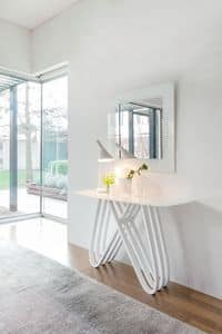 ARPA, Moderne consolle in Holz mit Glasplatte, für den Eintritt