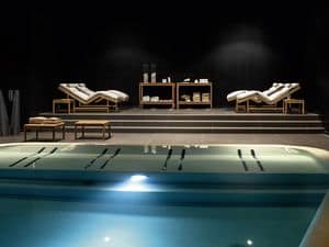 Barcode consolle Tisch, Teakholz-Konsole für Spa und Schwimmbäder