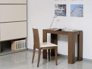 Ergänzungen Tische und Konsolen 11, Ausziehbare Konsole aus Holz und Metall