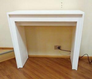 Konsole 01, Ausziehbare Konsole aus weißem Holz
