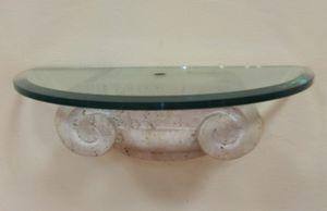 Konsole 03, Konsole aus Glas und Trevertino