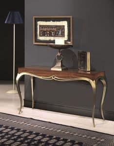 LOVE Konsole 8676K, Konsole aus Massivholz, klassischen Stil, Beine mit Gold-Finish