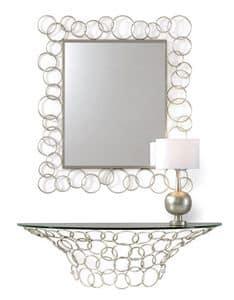 Mondrian consolle, Konsole in der Hand gebogen Eisen, Glasplatte