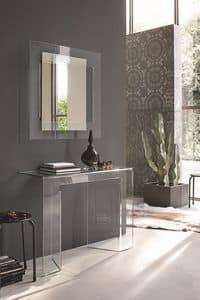 SAGITTA COC05, Gebogenes Glas Konsole und Spiegel für moderne Umgebungen geeignet