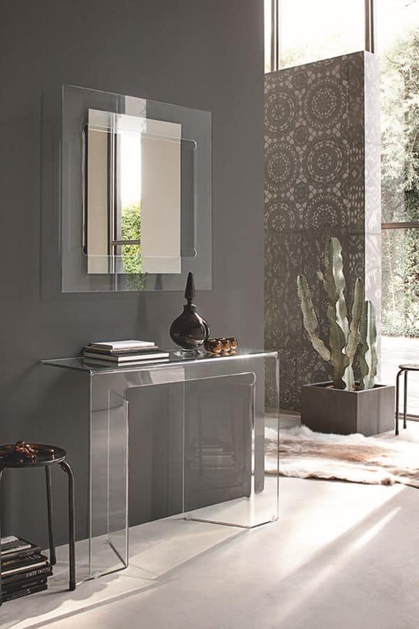 Gebogenes Glas Konsole Und Spiegel Fur Moderne Umgebungen