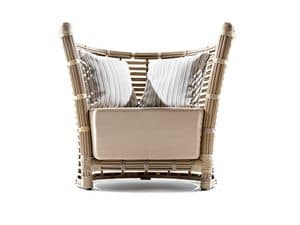 Tonkino Sessel, Gewebte Sessel, mit großen Kissen, für Gärten und Terrassen