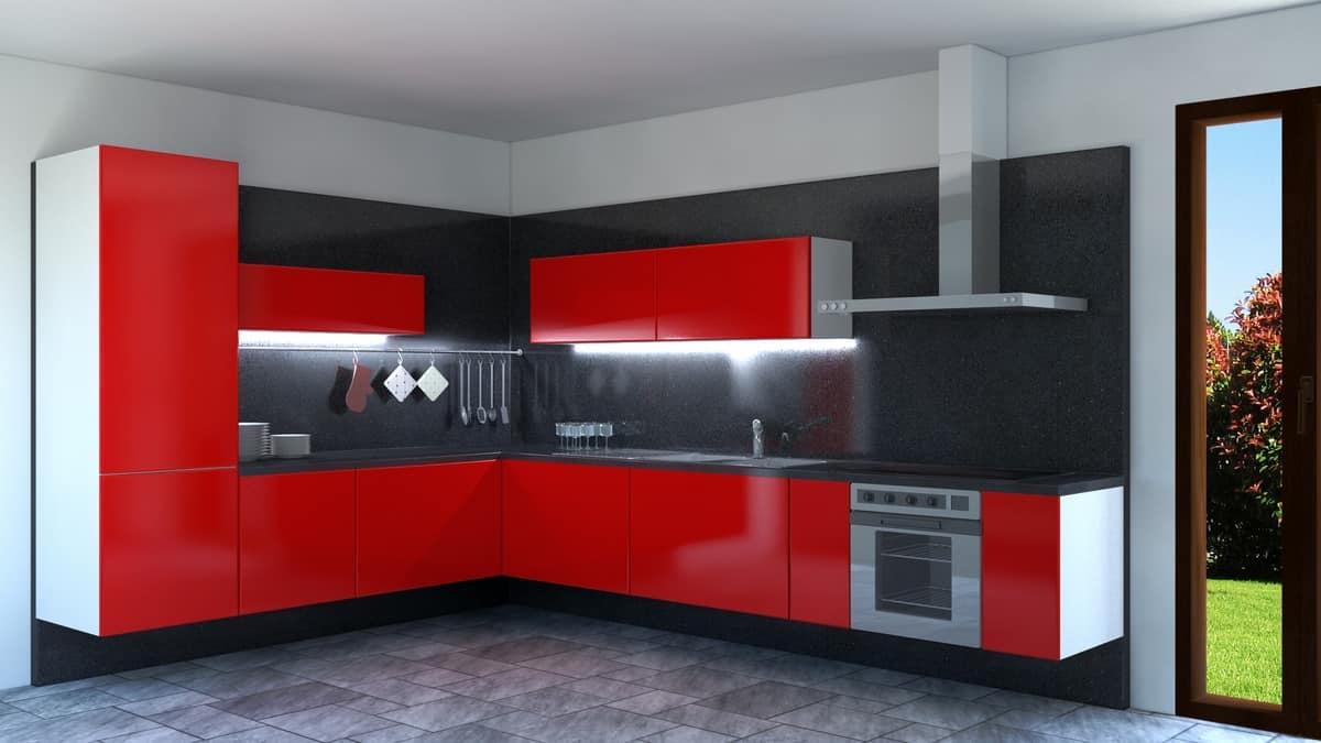 Rot lackiert Ecke Küche | IDFdesign