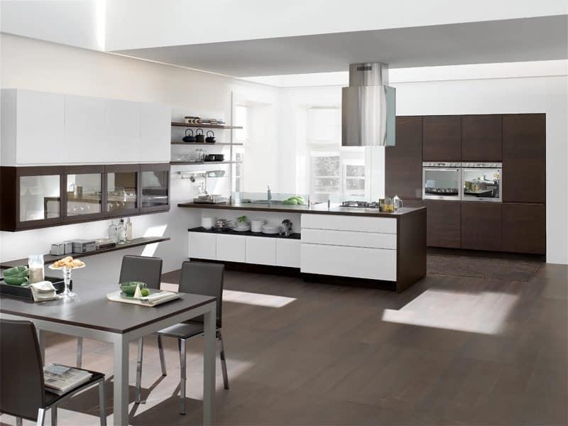 pin moderne k che idee halbinsel h cker holzplatten. Black Bedroom Furniture Sets. Home Design Ideas