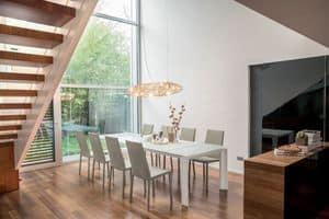 ALBA, Tisch mit Glasplatte, Aluminium-Basis, erweiterbar
