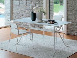 Domino, Rechteckiger Tisch mit Glas für elegante Küche