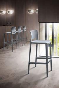 Bakhita Stool 76, Stapelbare Stuhl in Polymer, für Bars