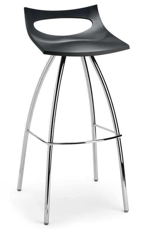 Diablito stool, Hocker aus Metall und Polypropylen, festen Sitz