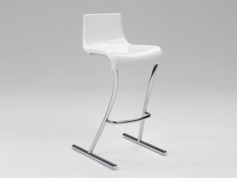 Flamingo 1, Hocker mit fester Höhe, Chrom-Struktur, für Bar und Küche