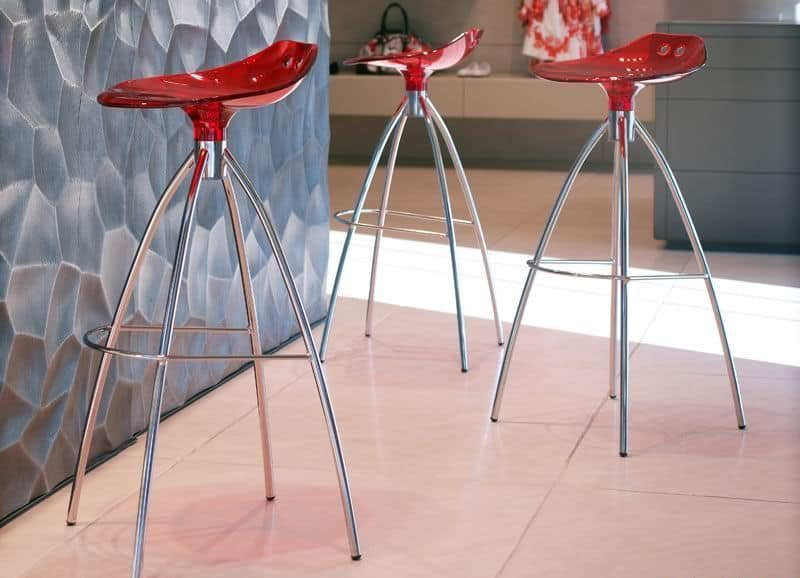 Frog, Moderne Stuhl aus Metall und Polycarbonat, feste Höhe