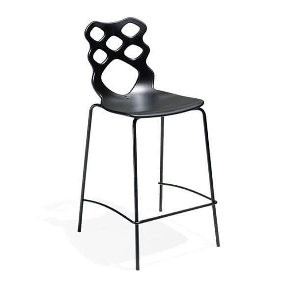 Lace stool h65 h75, Design Hocker, Sitz und Rückenlehne aus Technopolymer, geeignet für moderne Bars, Küchen und Restaurants