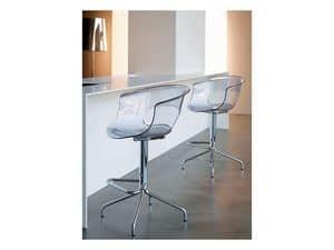 Miss b stool h.65, Barhocker mit fester Struktur, in Stahl und Acryl