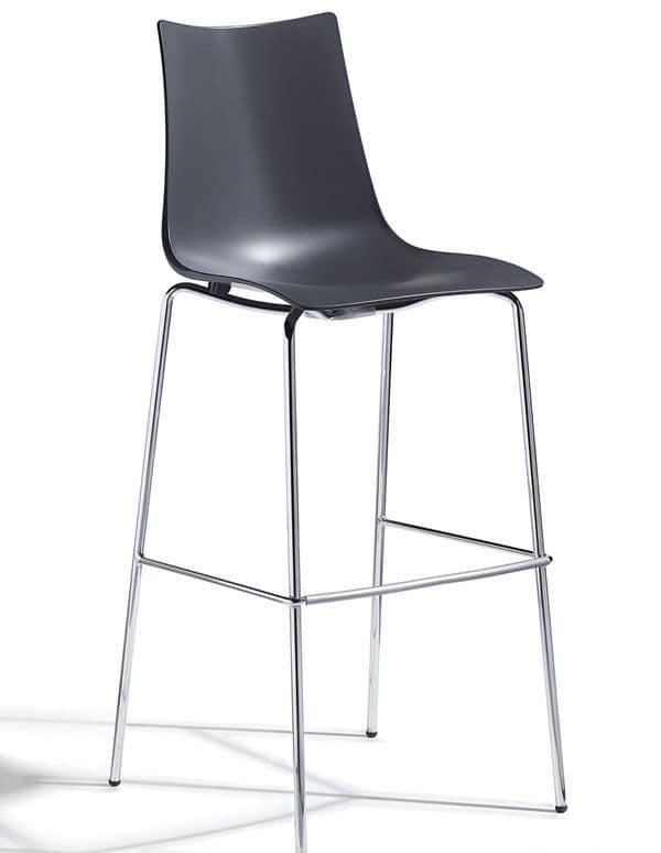 Zebra H/T2, Barhocker aus Metall und Technopolymer, Höhe 65 oder 80 cm