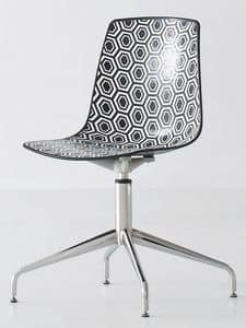 Alhambra L, Stuhl mit Drehgestell mit 4-Speichen aus verchromtem Stahl