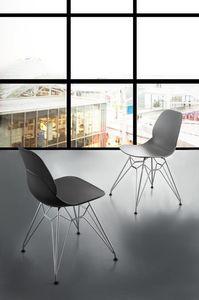 Art. 011 Eiffel, Design Stuhl aus Polypropylen mit Stab Basis