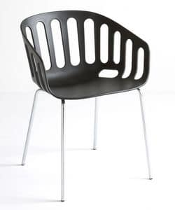 Basket Chair NA, Stuhl mit Metallgestell, Technopolymer Sitz