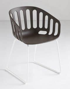 Basket Chair ST, Stuhl mit Schlittenmetallbasis, Shell-Polymer