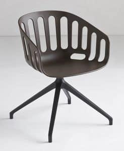 Basket Chair U, Drehstuhl mit Metallgestell, in Polymer sitzen, für das Büro