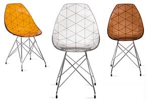 stuhl mit metallrahmen farbige schale in acryl idfdesign. Black Bedroom Furniture Sets. Home Design Ideas