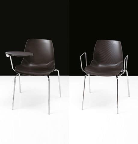 Kaleidos, Stuhl mit gepolstertem Sitz, mit speziellen Polymer bedeckt