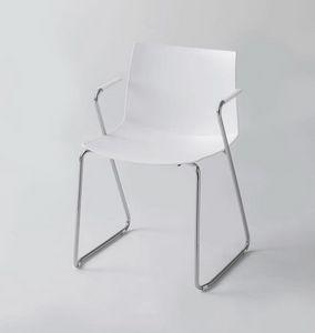 Kanvas 2 STS, Weiß lackierter Stuhl mit Armlehnen