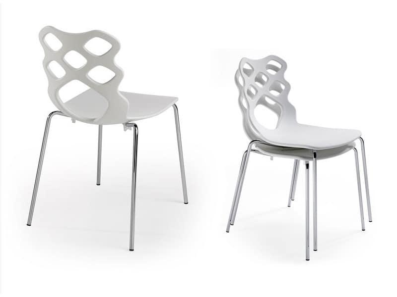 Lace 4G, Stuhl mit Kunststoffschale, modernes Design, geeignet für Wohn- und Objektbereich
