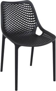 Alice - S, Stuhl mit Polypropylen-Struktur, die geeignet für den Außenbereich, Kunststoff-Stapelstuhl für den Garten