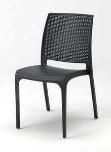 Außenliegender Stuhl Cross – CROSS25PZ, Stapelbare Plastikstuhl für den Außenbereich und Gärten
