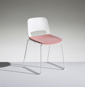 LUCKY 2, Leichter Stuhl aus Polypropylen mit Kufengestell