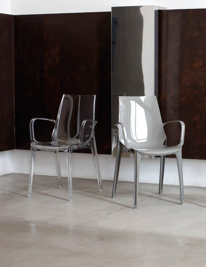 PL 2654, Stuhl aus Polycarbonat mit Armlehnen