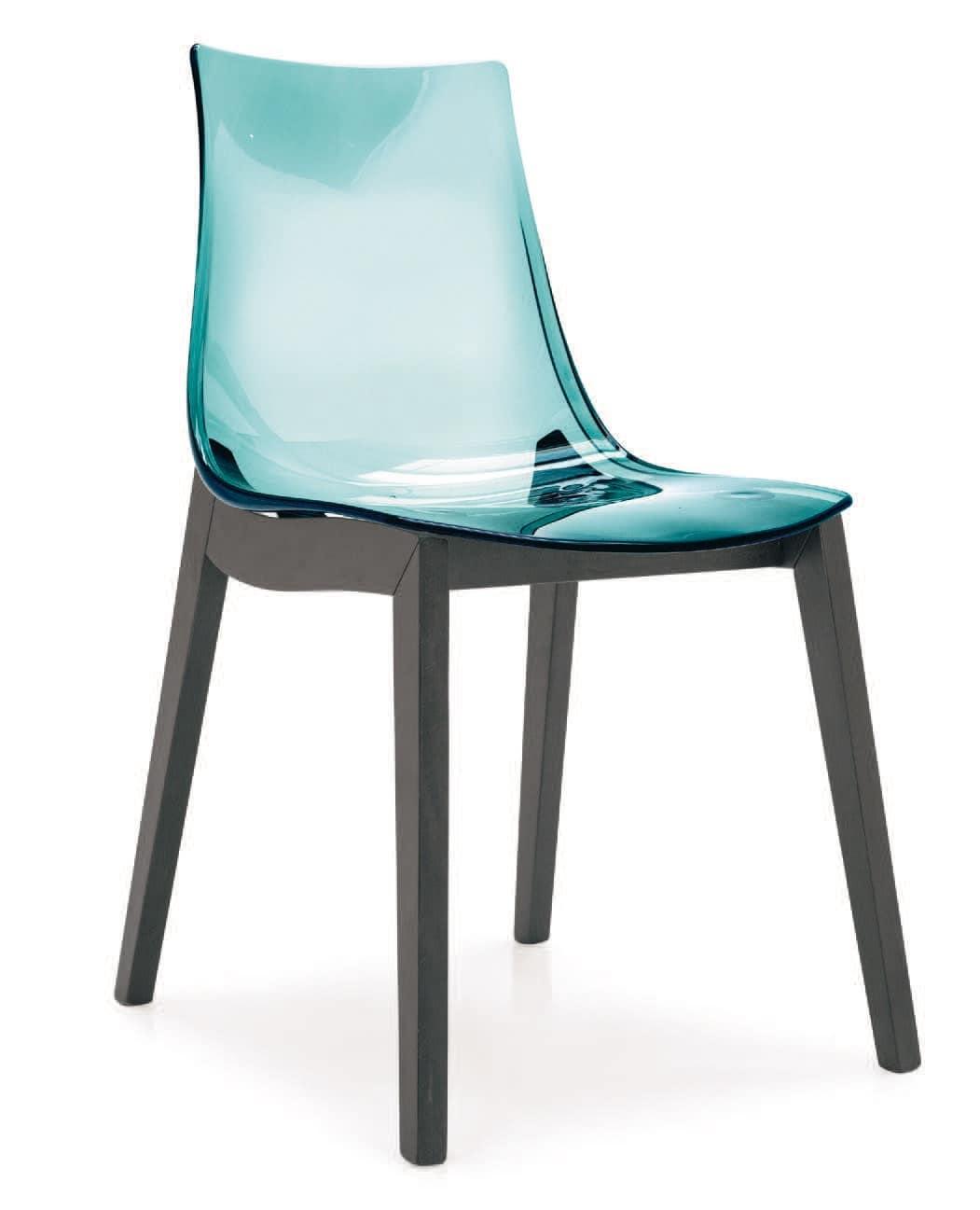 SE 1507, Stuhl aus Polycarbonat mit Beinen aus Buche