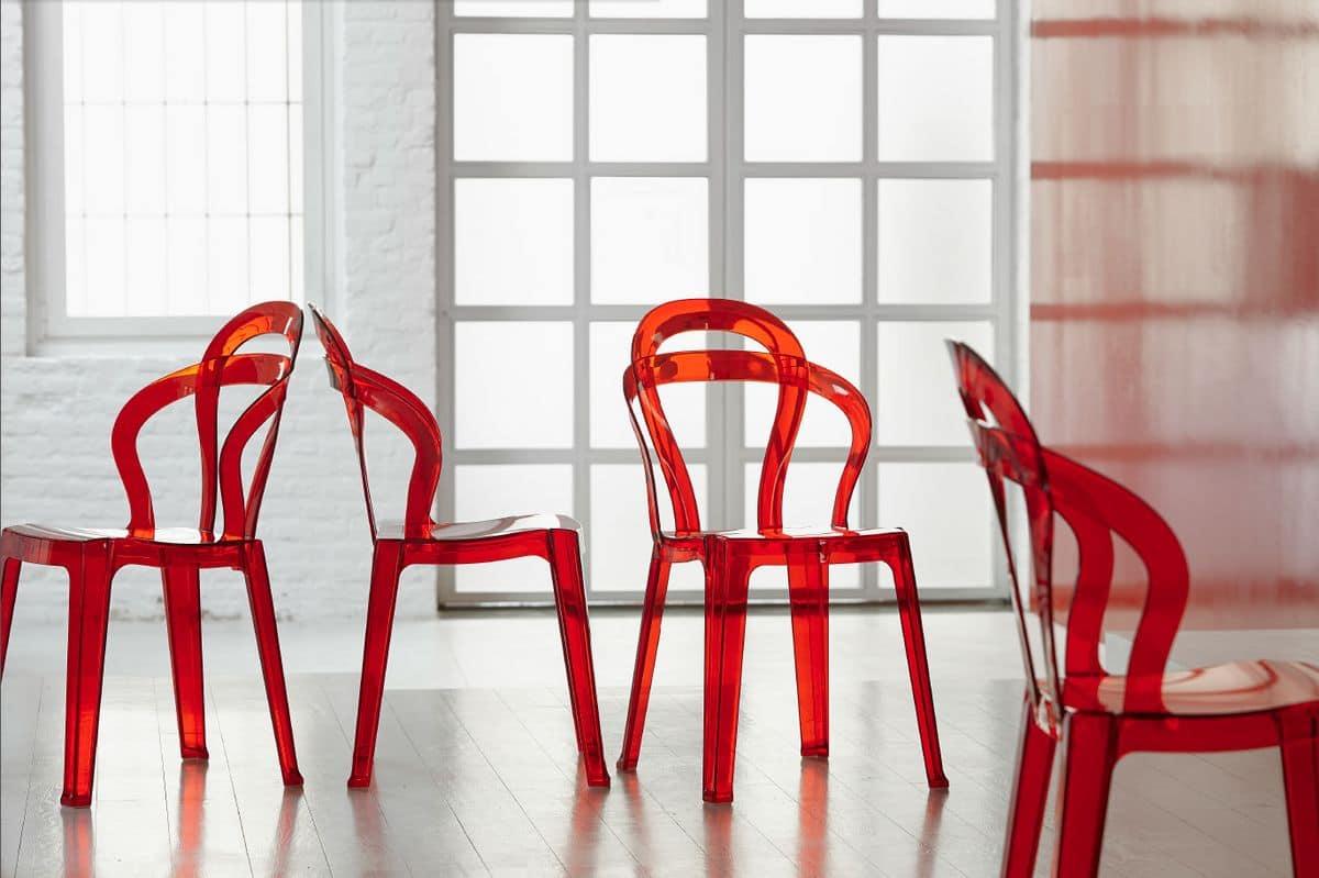 SE 2330, Stühle komplett aus transparentem Kunststoff, stapelbar, für Cafés und Eisdielen
