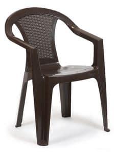 STUHL BAR POLYRATTAN, Outdoor-Stuhl in Polyrattan, für Bars, Hotels und Schwimmbäder