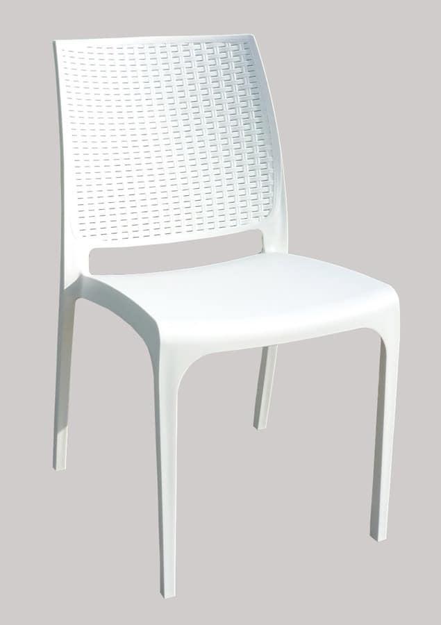 Barstuhl in polyrattan stapelbar f r den au enbereich for Design stuhl cross