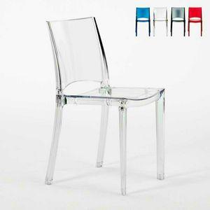 Transparente Stühle für Bar und stapelbares Restaurant B-SIDE Grand Soleil - S6315TR, Transparenter Plastikstuhl für Küche und Bar