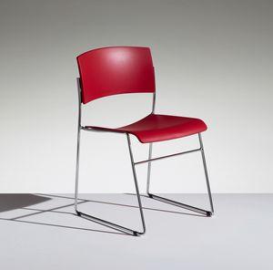 ZINIA, Stapelbarer Stuhl mit Kufengestell