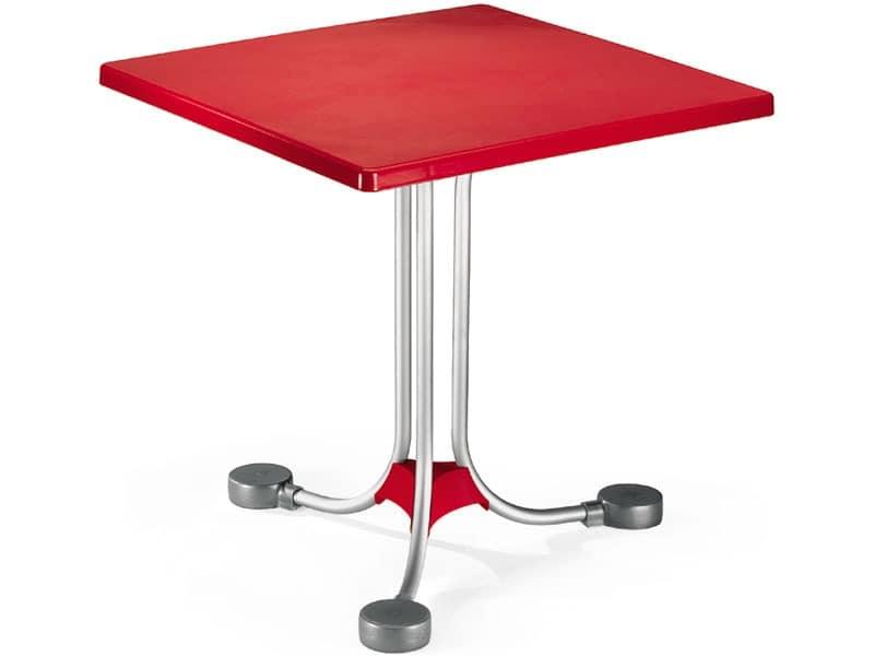 Table 72x72 cod. 06, Quadratischer Couchtisch mit Untergestell aus Aluminium-Gegengewichte