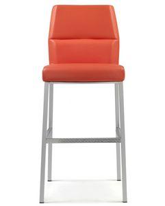 Web Stuhl 10.0106, Gepolsterter Hocker, mit Leder bezogen