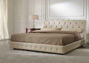 ART. 2707, Bett mit Struktur in Leder bezogen