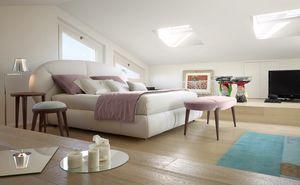 Baloon Bett, Gepolstertes Bett, Kopfteil mit abgerundeten Formen