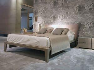Pigalle Bett, Bett in Leder mit gepolstertem Kopfteil bedeckt