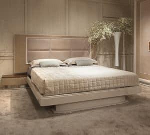 Princess Art. 106.353, Eiche Bett mit integrierten Nachttischen mit Stahl Details